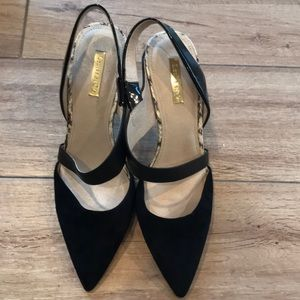 Louise Et Cie Black Suede and Snakeskin Heels